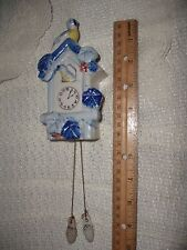 Original Bluebirds Cuckoo Clock Wall Pocket Japan Wall Display Porcelain,1940's