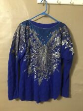 Womens L, Blue, Embroidered Angora Sweater