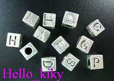 52 Pcs Tibetan silver alphabet square spacer bead A494