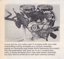 1962 DART ~ 413/410-HP RAM-TUBE MANIFOLDING ENGINE ~ RARE SMALLER INTRO ARTICLE