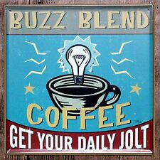 Metal Tin Sign buzz blend coffee Bar Pub Vintage Retro Poster Cafe ART