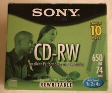 Sony CD-RW 1x 2x 4x Multi Speed 650 MB 74 Min 10 Pack Rewritable New Box