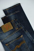 RRP $235 NUDIE GRIM TIM ORG. TEAL BLUE Men W29/L32 Faded Whiskered Jeans 3484_mm