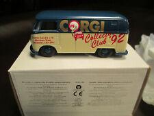 RARE VINTAGE CORGI VW PANEL VAN LEFT HAND DRIVE 'CORGI COLLECTOR CLUB 92'