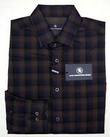 NWT $98 Hart Schaffner Marx Shirt Mens Size M Long Sleeve Brown Blue Plaid NEW