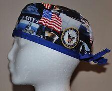 US Navy/Patriotic Men's Scrub Cap/Hat - One size fits most