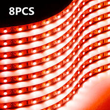 8X RED 15 LED 30CM Car Grille Flexible Light Strip Interior Atmosphere Lamp