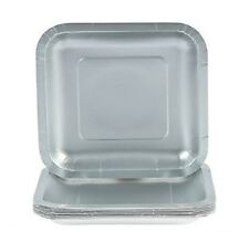 """Silver 18 ct Dessert Plates Shimmering Silver Square Paper Plates 18ct ~ 6 7/8"""""""