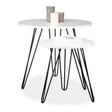 Relaxdays Set di 2 tavolini Rotondo 3 gambe legno metallo 52&#xa0