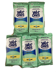 Wet Ones Wipes For Hands And Face 20 Count Travel Pack ( Pack Of 5) 100 Total