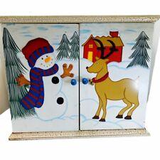 Advent Calendar 24 Christmas Wood Cabinet 2 Doors 24 Drawers Reindeer Snowman