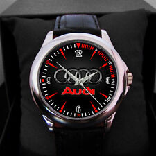 NEW Audi Car Logo emblem Black Leather Alloy High-grade Watch man N woman