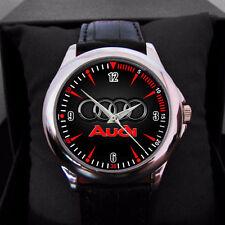 NEW Audi Car Logo emblem Black Leather Alloy High-grade Watch man N woman