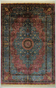 Luxurious Blue Vivid Pink Plush Silk Rug 5 x 8 feet Traditional Rug 400 KPSI