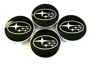 "4 pcs, Subaru, Wheel Center Cap, Black Chrome Logo 60 MM / 2.36"" Impreza Legacy"