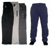 FLEECE JOGGING BOTTOMS  'open hem' RUNNING SPORT CASUAL JOGGERS SIZES S -2XL