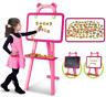 Childrens PINK 3:1 Learning Blackboard Whiteboard Magnetic Letters Easel Art Set