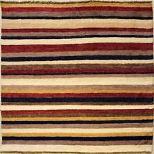 Rugstc 4x4 Senneh Gabbeh Multicolored Area Rug,Vegetable dye, Hand-Knotted,Wool