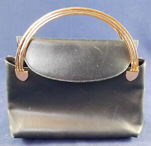 Vintage Sandro Corti Italy Navy Blue Leather Gold Arch Handle Handbag Purse