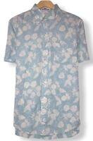 Reyn Spooner + Brooks Brothers Mens Blue Hawaiian Button Down Shirt Size M/L euc