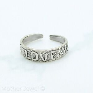 GENUINE REAL 925 SOLID STERLING SILVER I LOVE YOU WOMENS BAND MIDI OR TOE RING