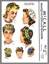 Vintage McCall Misses'Girl's Millinery Pillbox Hat Fabric Sewing Pattern # 967