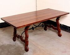 Stunning Large Spanish Style Solid Oak Plank Refectory Dining Table 6ft x 3ft