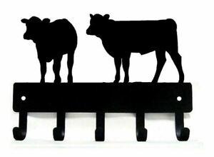"""CALVES Farm Wall Art Metal Key Rack Holder Hanger 5 Hooks - Made in USA LG 9"""""""