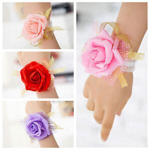 Bridesmaid Wrist Corsage Wedding Party Rose Bracelet Silk Flowers Ribbon S_cd