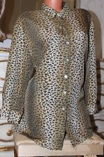 PIER ANGELINI 100% cupro animal print  shirt blouse top size 16-18