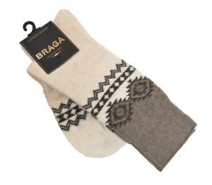Braga Italy LadiesMId Calf Boot Socks Merino Wool Blend Taupe Cream
