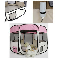 "57"" Kennel Pet Fence Puppy Soft Oxford Playpen Exercise Pen Folding Crate Pink"