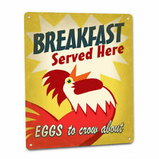 Diner Rooster SIGN Red Chicken Crow Eggs Bacon Breakfast Vintage