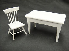 Dollhouse Miniature Lot Kitchen Table 1 Chair Painted White Wood Country Style