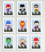 Cute Superhero Pictures / Prints for Boys Bedroom, Playroom, Home Decor, Hero
