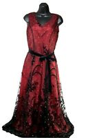 Coldwater Creek Women's Petite 6 Dress Red & Black Lace Dress, Gown, Cocktail