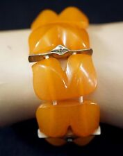 Lovely Mid Century Design Butterscotch Amber and Metal Bracelet