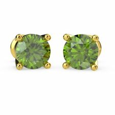 3.50 Carat Round Shaped Peridot Stud Earring Crafted in Yellow Gold