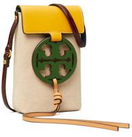 AUTH NWT $248 Tory Burch Women's Miller Logo Phone Canvas Leather Crossbody Bag
