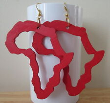 Red Africa Map outline Earrings made with light wood  - handmade - laser cut