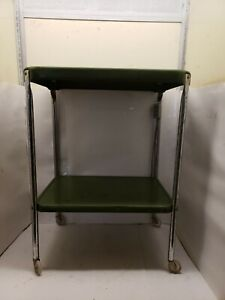 Vintage Cosco Green Metal Kitchen Cart With Electric Plug,  2 Shelf