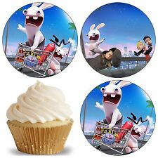 24 Muffin / Cupcake Lapin Crètin Deco  Disque Azyme Comestible Anniversaire