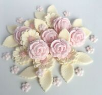 Baby Pink & Ivory Roses Wedding Flowers Cake Decorations Edible Cake Toppers