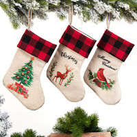 3 PCS Christmas Stocking Socks Santa Claus Candy Bag Xmas Tree Hanging Ornament