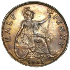 1935 GREAT BRITAIN 1/2d HALF PENNY BRONZE AU RED COIN KM 837 KING GEORGE V