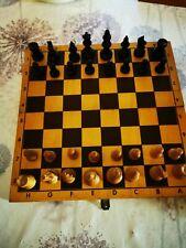 Holz Schachbrett mit Figuren / Schachspiel, Beschreibung lesen!