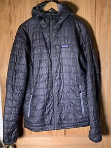 Patagonia Mens Primaloft Nano Puff Hoody Grey Quilted Jacket Size Medium Belay