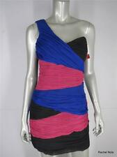 NWT ASOS 12P Color Block One Shoulder Sexy Ruched Cocktail Evening Dress NEW