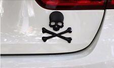 AUTO Car ACCESSORIES Universal Matte Black Skull Bone Logo 3D Emblem Sticker