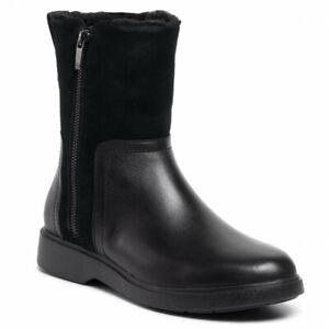 BNIB Clarks Unstructured Ladies Un Elda Mid Black Leather Waterproof Short Boots